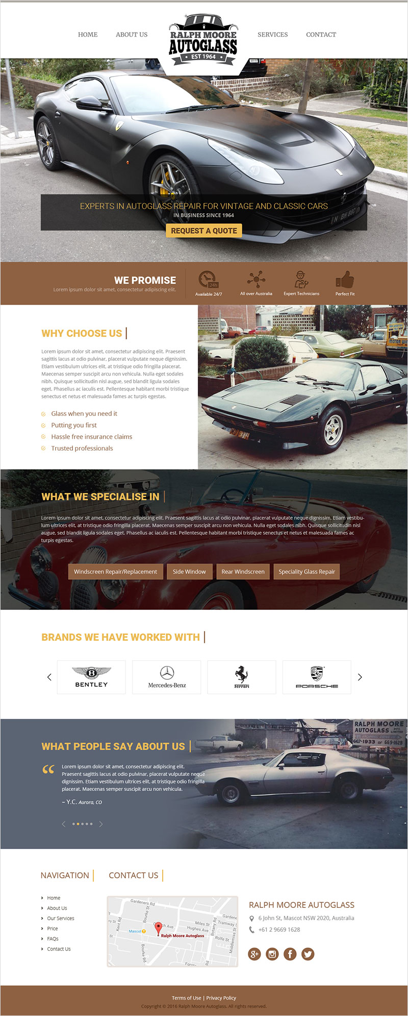Ralph Moore Auto Glass - Website Design